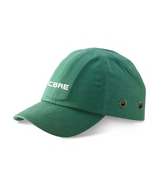 Green Safety Bump Cap With CBRE Logo
