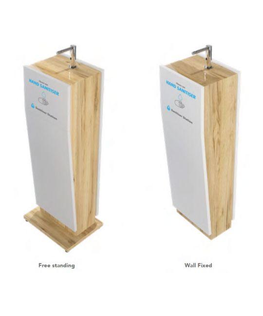 Wooden Hand Sanitiser Station White Gloss/Oak
