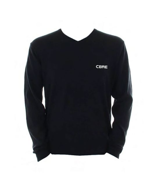 V-Neck Jumper Black With CBRE Logo