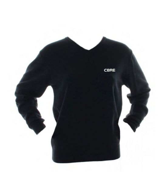 Ladies Acrylic Cotton V-Neck Sweater Black