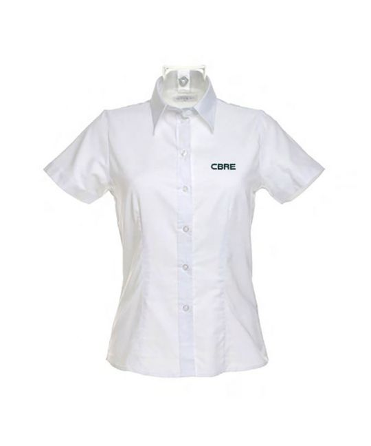 Ladies Short Sleeve Standard Workwear Oxford Shirt White