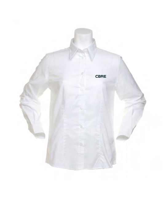 Ladies Long Sleeve Standard Workwear Oxford Shirt White