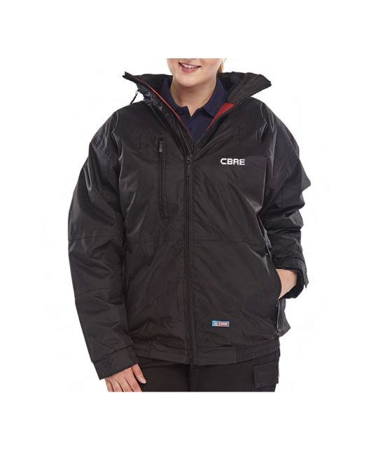 Waterproof Bomber Jacket Black With CBRE Logo