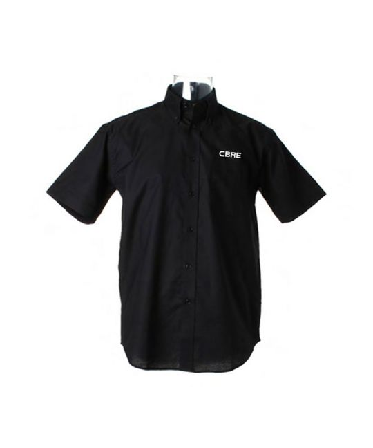 Short Sleeve Standard Workwear Oxford Shirt Black