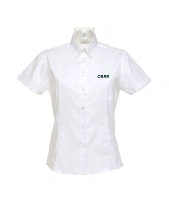 Ladies Short Sleeve Premium Oxford Shirt White
