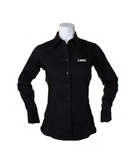 Ladies Long Sleeve Premium Oxford Shirt Black