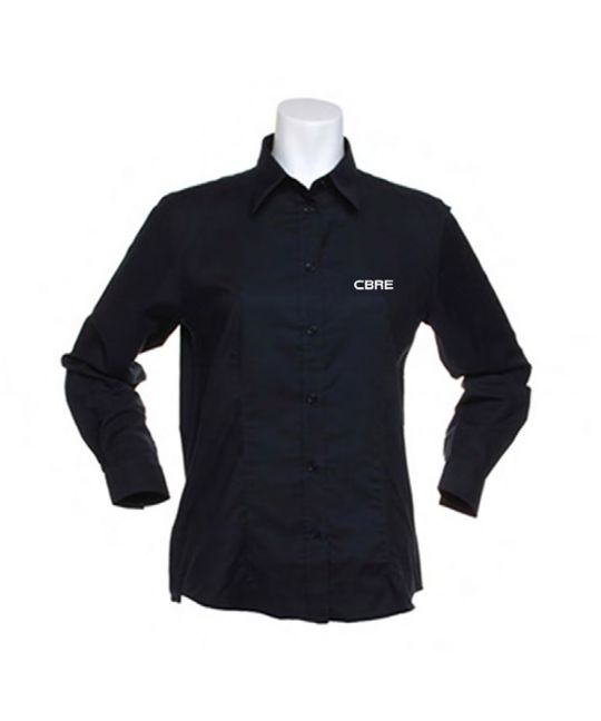 Ladies Long Sleeve Standard Workwear Oxford Shirt Black