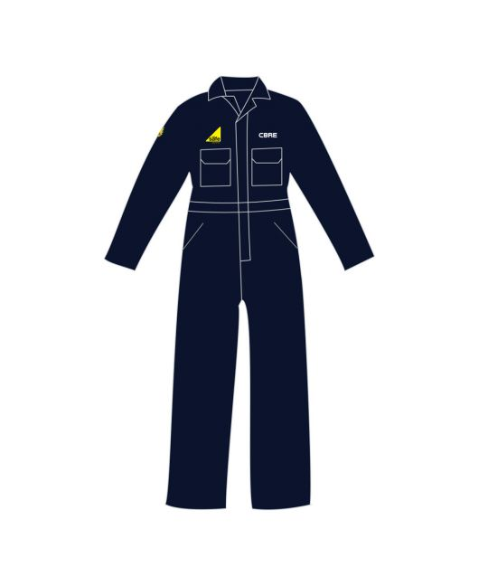 FR Boilersuit Navy With CBRE and Gas Safe Logos