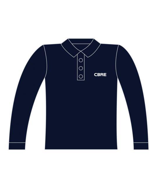 FR AS Long Sleeve Polo Shirt Navy With CBRE Logo