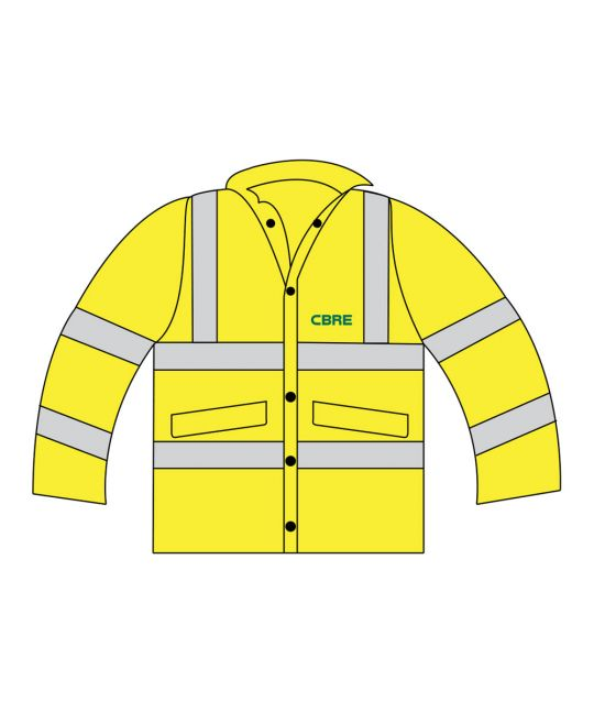 High Visibility FR AS Jacket Saturn Yellow With CBRE Logo (Large Size Only)