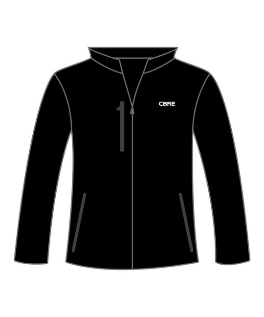Ladies Soft Shell Jacket Black With CBRE Logo