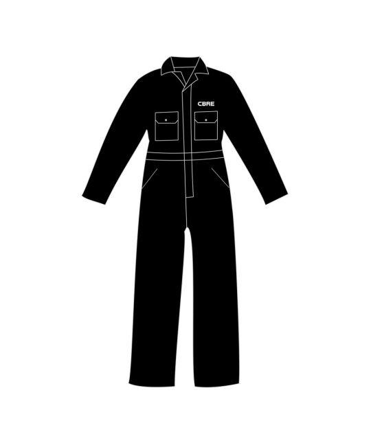 Poly/Cotton Boilersuit Black With CBRE Logo
