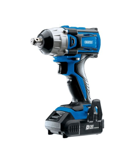 """Draper D20 Brushless 1/2"""" Impact Wrench With 2x 2.0Ah Batteries and Charger"""