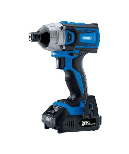 """Draper D20 Brushless 1/4"""" Impact Driver With 2x 2.0Ah Batteries and Charger"""