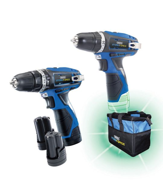 Draper Storm Force 10.8V Drill Twin Pack With 3 Batteries and Bag
