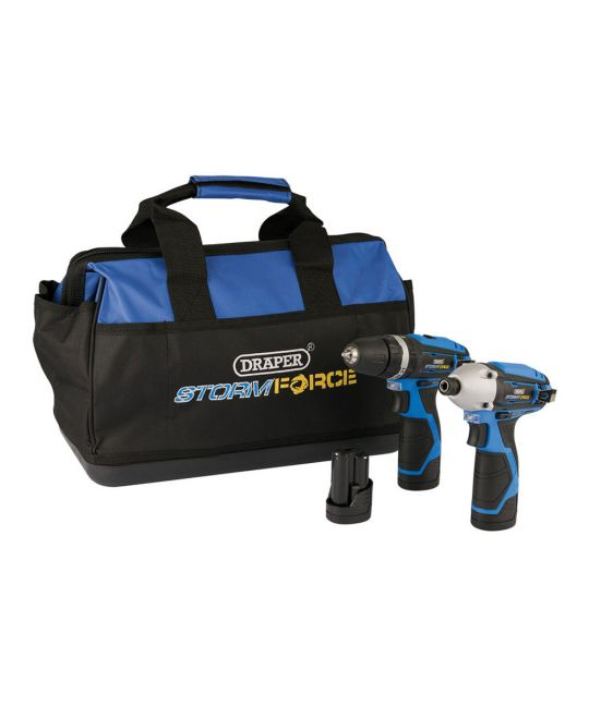 Draper Storm Force 10.8V Drill Driver Twin Pack With 3 Batteries and Bag