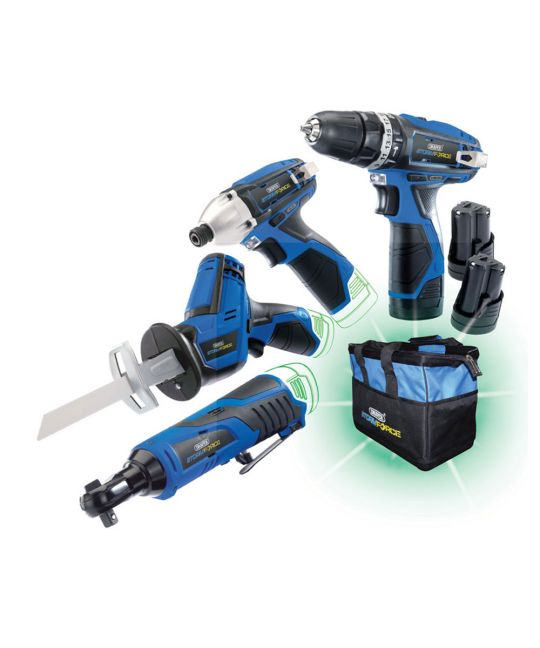 Draper Storm Force 10.8V Drill 4 Pack With 3 Batteries and Bag