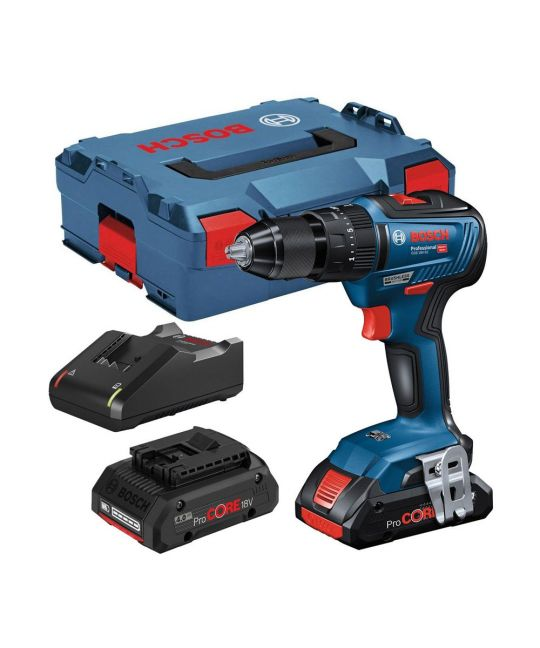 Bosch GSB 18V-55 Combi Drill With 2x 4.0Ah Batteries & Charger & MCB Set