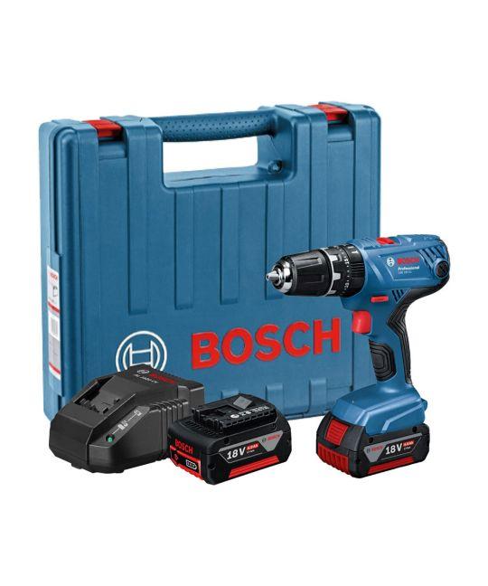 Bosch GSB 18V-21 Combi Drill With 2x 4.0Ah Batteries + MCB Set