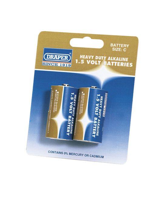 Draper Heavy Duty C Size Alkaline Batteries (Pack of 2)