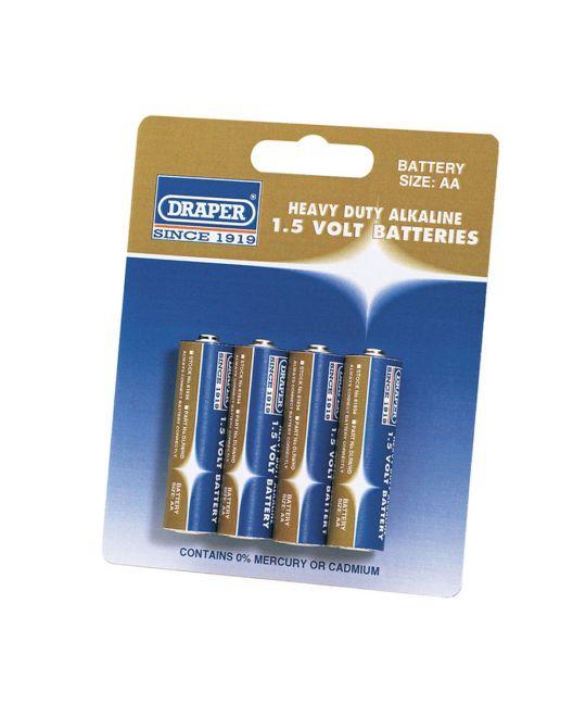 Draper Heavy Duty AA Alkaline Battery (Pack of 4)