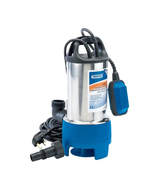 Draper 208l/min Stainless Steel Submersible Dirty Water Pump With Float Switch (750W)