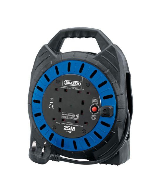 Draper 230V Four Socket Cable Reel (25m)