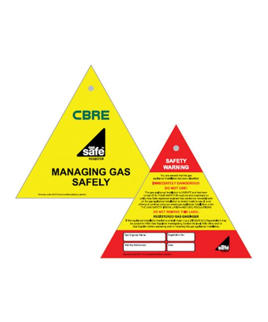 CBRE Gas Safe Double Sided Tag - Immediate Danger (Pack of 10)