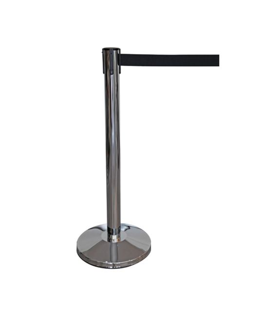 Chrome Post Belt Barrier (Black)