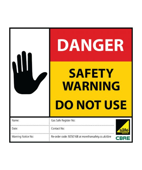 CBRE Gas Safe Sticker - Danger Don Not Use