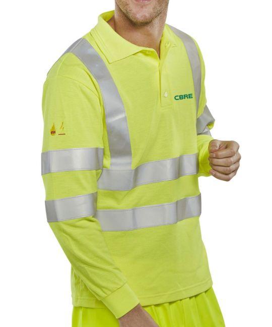 FR AS High-Visibility Long Sleeve Polo Shirt Saturn Yellow