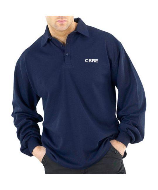 FR AS Long Sleeve Polo Shirt Navy