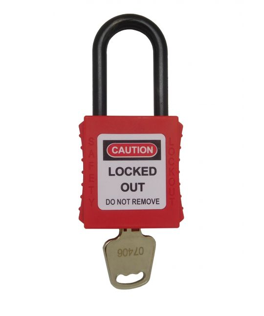 38mm Nylon Safety Padlock Non-Conductive Shackle Keyed to Differ Red